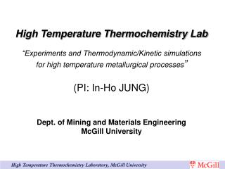 High Temperature Thermochemistry Laboratory, McGill University
