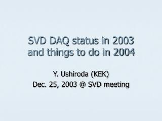 SVD DAQ status in 2003 and things to do in 2004