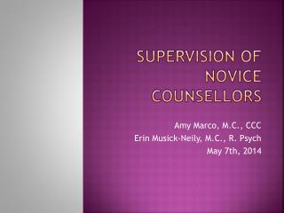 Supervision  of novice counsellors