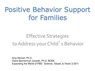 Positive Behavior  Support for Families
