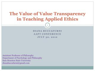 The Value of Value Transparency in Teaching Applied Ethics