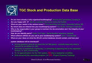 TGC Stock and Production Data Base