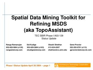 Spatial Data Mining Toolkit for Refining MSDS (aka TopoAssistant)