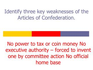 Identify three key weaknesses of the Articles of Confederation.