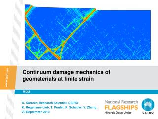 Continuum damage mechanics of geomaterials at finite strain