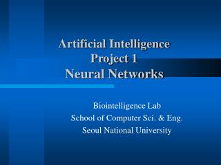 Artificial Intelligence Project 1 Neural Networks