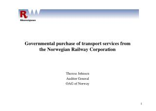 Governmental purchase of transport services from  the Norwegian Railway Corporation