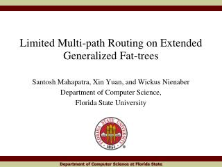 Limited Multi-path Routing on Extended Generalized Fat-trees