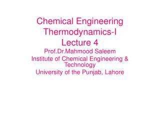 Chemical Engineering Thermodynamics-I Lecture 4