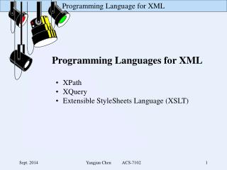 Programming Languages for XML