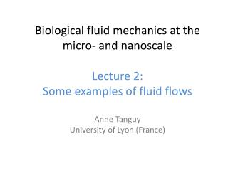 Biological fluid mechanics at the micro‐ and  nanoscale Lecture 2: Some examples  of  fluid flows
