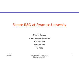 Sensor R&D at Syracuse University