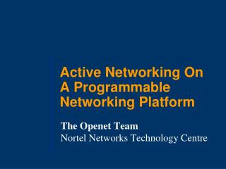 Active Networking On A Programmable Networking Platform