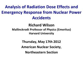 Analysis of Radiation Dose Effects and Emergency Response from Nuclear Power Accidents