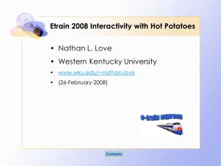 Etrain 2008 Interactivity with Hot Potatoes