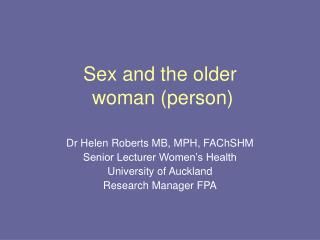 Sex and the older  woman (person)