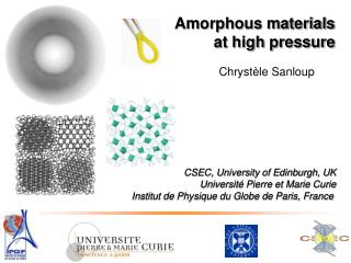 Amorphous materials  at high pressure