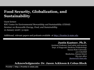 Global food security and stability