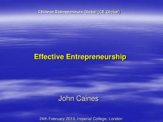 Effective Entrepreneurship