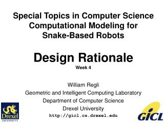 William Regli Geometric and Intelligent Computing Laboratory Department of Computer Science