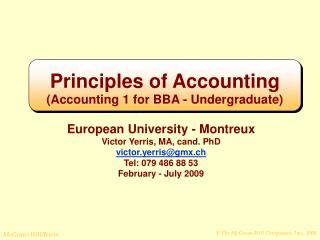 Principles of Accounting (Accounting 1 for BBA - Undergraduate)