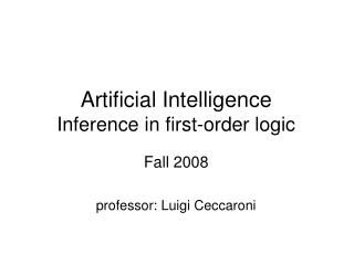 Artificial Intelligence Inference in first-order logic