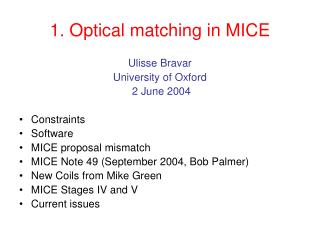1. Optical matching in MICE
