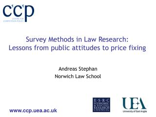 Survey Methods in Law Research:  Lessons from public attitudes to price fixing