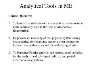 Analytical Tools in ME