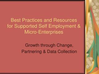 Best Practices and Resources  for Supported Self Employment & Micro-Enterprises