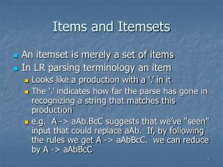 Items and Itemsets