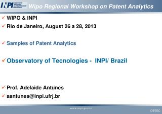 Wipo Regional Workshop on Patent Analytics