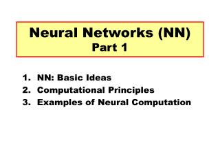 Neural Networks (NN) Part 1