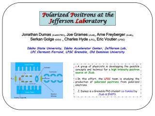 P olarized  P ositrons at the  J efferson  Lab oratory