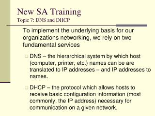 New SA Training Topic 7: DNS and DHCP