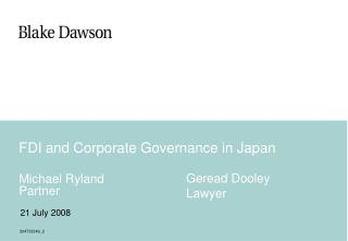 FDI and Corporate Governance in Japan