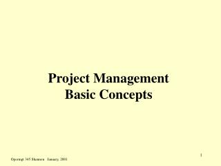 Project Management Basic Concepts