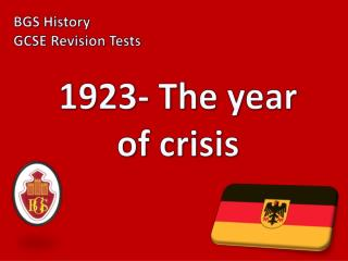 1923- The year of crisis