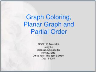 Graph Coloring,  Planar Graph and  Partial Order