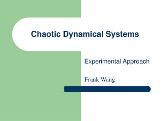 Chaotic Dynamical Systems