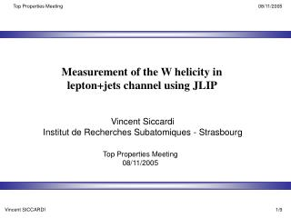 Measurement of the W helicity in lepton+jets channel using JLIP