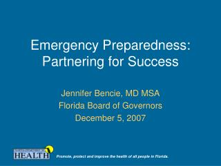 Emergency Preparedness:  Partnering for Success