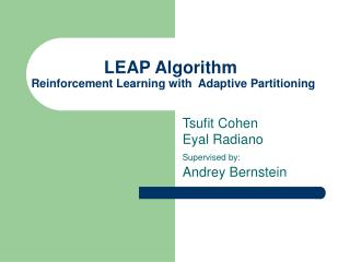LEAP Algorithm Reinforcement Learning with  Adaptive Partitioning