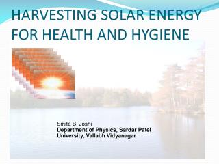 HARVESTING SOLAR ENERGY FOR HEALTH AND HYGIENE