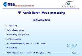 PF-ASAR Burst-Mode processing Introduction