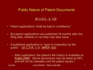 Public Nature of Patent Documents