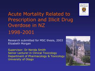Drug related mortality in NZ - What has been published so far?