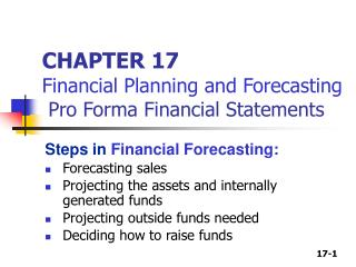 CHAPTER 17 Financial Planning and Forecasting  Pro Forma Financial Statements