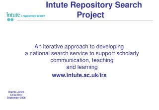 Intute Repository Search          Project