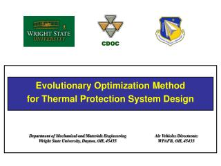 Evolutionary Optimization  Method for Thermal Protection System Design
